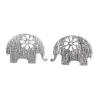 Handmade Sterling Silver 'Blooming Elephants' Earrings (Thailand)