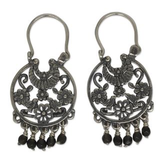 Handmade Sterling Silver 'Dance of the Flowers' Onyx Earrings (Mexico)
