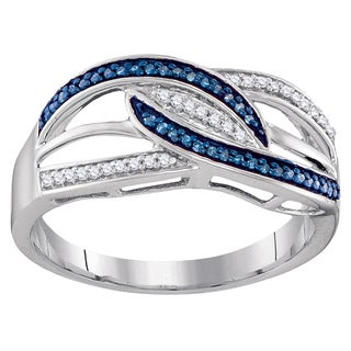 Sterling Silver 1/6ct TW Blue and White Diamond Split Shank Fashion Right Hand Ring (I-J, I2-I3)