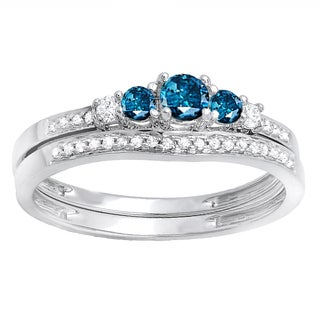 14k White Gold 3/8ct TW Round Blue and White Diamond 5-stone Bridal Set (H-I, I2-I3)
