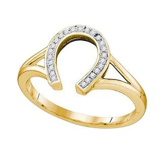 10K Yellow Gold 1/10 CT. TDW Round Cut White Diamond Ladies Right Hand Horse Shoe Ring (IJ & I2-I3)