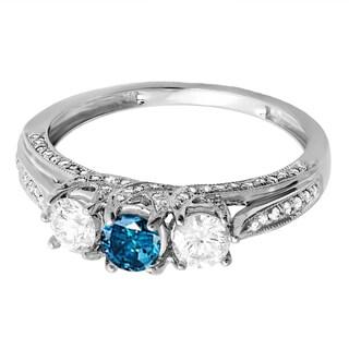 18k White Gold 1ct TW White and Blue Diamond Vintage Bridal 3-stone Ring (H-I , I2-I3)