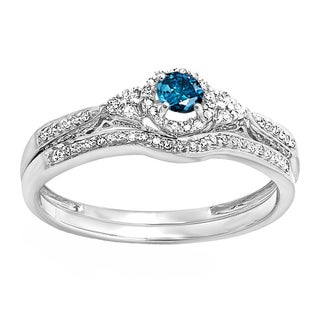 14k White Gold 1/3ct TW Round Blue and White Diamond Halo Style Bridal Set (H-I, I2-I3)