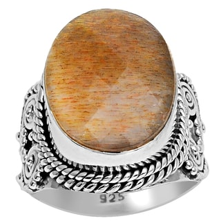 Orchid Jewelry 925 Sterling Silver 12 Carat Sunstone Gemstone Ring