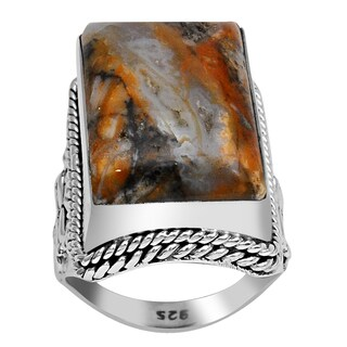 Orchid Jewelry 925 Sterling Silver 16.1 Carat Moss Agate Ring