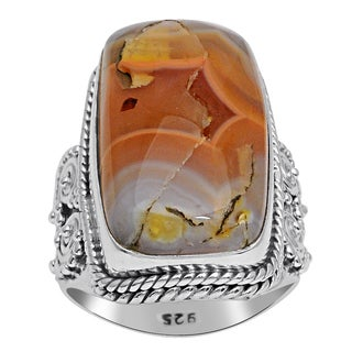 Orchid Jewelry 925 Sterling Silver 18 4/5 Carat Agate Ring