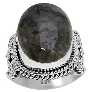 Orchid Jewelry 925 Sterling Silver 21 Carat Moss Agate Ring