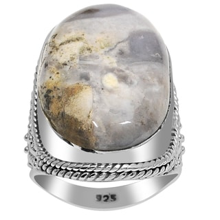 Orchid Jewelry 925 Sterling Silver 22 8/9 Carat Moss Agate Gemstone Ring