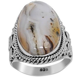 Orchid Jewelry 925 Sterling Silver 12 Carat Agate Gemstone Ring