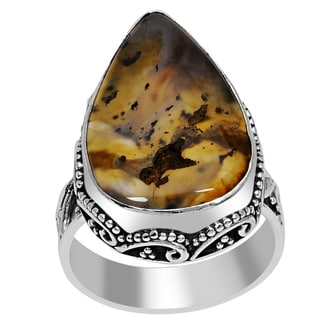Orchid Jewelry 925 Sterling Silver Agate Ring