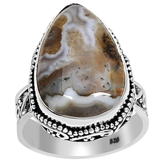 Orchid Jewelry 925 Sterling Silver Moss Agate Ring