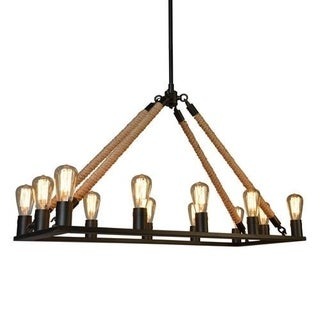Y-Decor Vivianni 12-light Black Finish Rope Chandelier