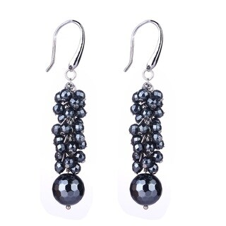 Sterling Silver 13.03ct Black Spinel Dangle Earrings