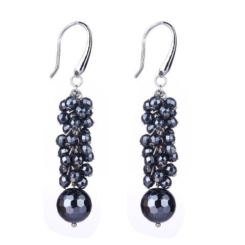 Sterling Silver 13.03ct Black Spinel Dangle Earrings