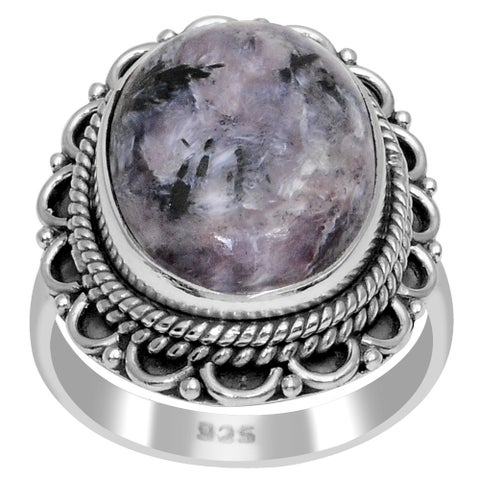 Orchid Jewelry 925 Sterling Silver 8 3/4 Carat Sugilite Cabochon Ring