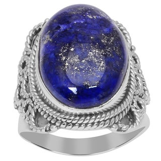 Orchid Jewelry 925 Sterling Silver 12 Carat Lapis Ring
