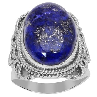 Orchid Jewelry 12 Carat Lapis Lazuli 925 Sterling Silver Cabochon Ring