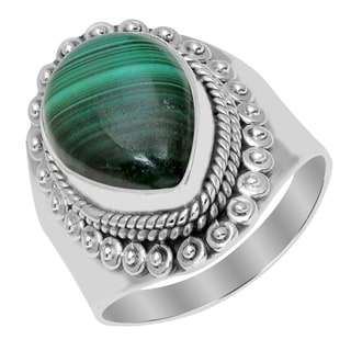 Orchid Jewelry 925 Sterling Silver 8 Carat Malachite Ring