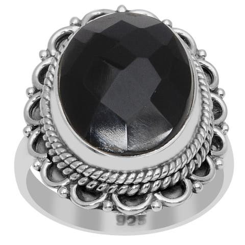 Onyx Sterling Silver Oval Filigree Ring By Orchid Jewelry
