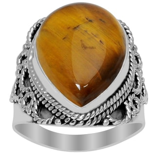 Orchid Jewelry 925 Sterling Silver 10 3/5 Carat Tiger Eye Ring