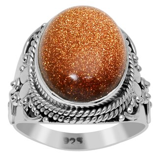 Orchid Jewelry 8 1/2 Carat Sunstone 925 Sterling Silver Handmade Ring