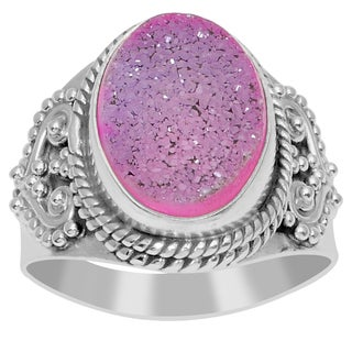 Orchid Jewelry 925 Sterling Silver 6 3/5 Carat Pink Druzy Ring