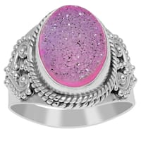 Orchid Jewelry 925 Sterling Silver 6 3/5 Carat Pink Druzy Bridal Ring