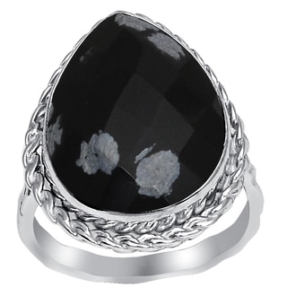 Orchid Jewelry 925 Sterling Silver 7 1/7 Carat Snowflake Obsidian Fashion Ring