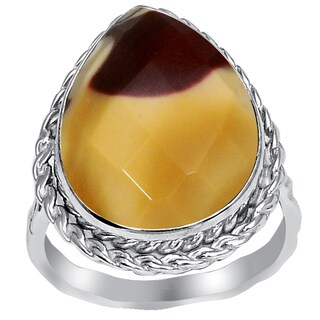 Orchid Jewelry Sterling Silver 7 Carat Mookaite Jasper Large Stone Pear Shape Ring