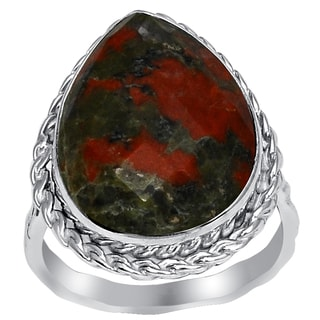 Orchid Jewelry 925 Sterling Silver 9 4/9 Carat Unakaite Jasper Ring