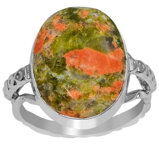 Orchid Jewelry 925 Sterling Silver 8 1/2 Carat Unakaite Jasper Ring