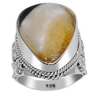 Orchid Jewelry 925 Sterling Silver 15 Carat Botswana Agate Ring