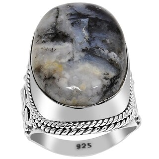 Orchid Jewelry 23 8/9 Carat Moss Agate 925 Sterling Silver Cabochon Ring