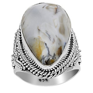 Orchid Jewelry 925 Sterling Silver 15 3/5 Carat Agate Fashion Ring