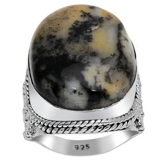 Orchid Jewelry 925 Sterling Silver 20 1/4 Carat Moss Agate Ring