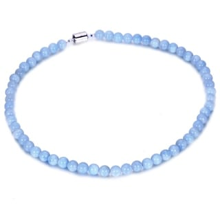 Sterling Silver 8mm Aqua Bead 18-inch Necklace
