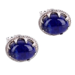 Handcrafted Sterling Silver 'Morning Mystery' Lapis Lazuli Earrings (India)