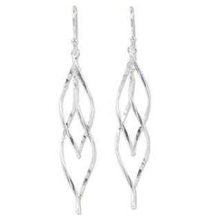 Handcrafted Sterling Silver 'Ribbon Helix' Earrings (Thailand)