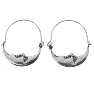 Handmade Sterling Silver 'Moon at Rest' Earrings (Mexico)