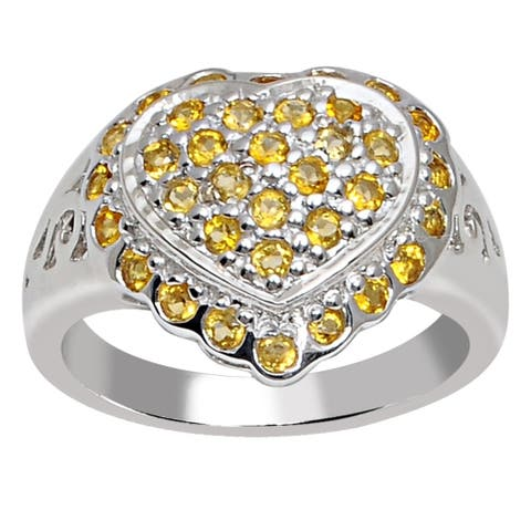 Citrine Sterling Silver Round Cluster Ring by Orchid Jewelry