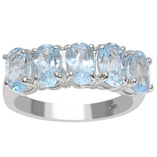 Orchid Jewelry 925 Sterling Silver 3 Carat Blue Topaz 5-Stone Anniversary Ring