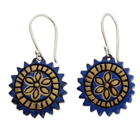 Handmade Sterling Silver Terracotta 'Peaceful Chakra' Earrings (India)
