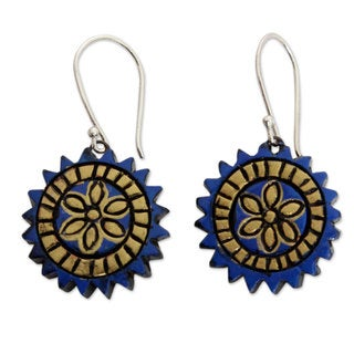 Handcrafted Sterling Silver Terracotta 'Peaceful Chakra' Earrings (India)