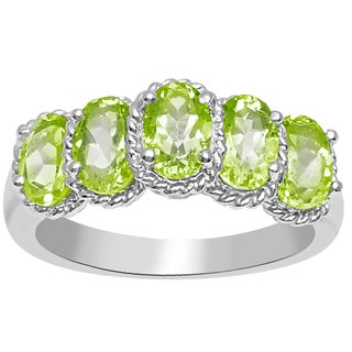 Orchid Jewelry 925 Sterling Silver 2 1/2 Carat Peridot Five Stone Ring