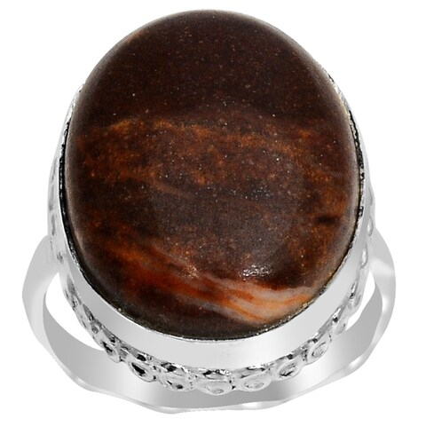 Orchid Jewelry 17 1/2 Carat Chocolate Jasper Gemstone 925 Sterling Silver Ring