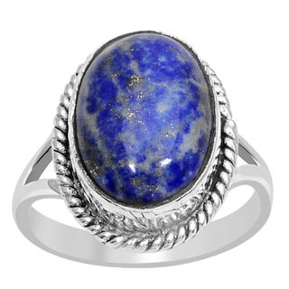Orchid Jewelry 925 Sterling Silver 5 5/9 Carat Lapis Lazuli Ring
