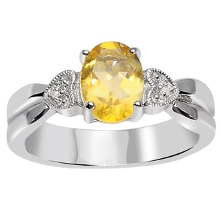 Orchid Jewelry 925 Sterling Silver 1 1/8 Carat Citrine and Diamond Accent Engagement Ring