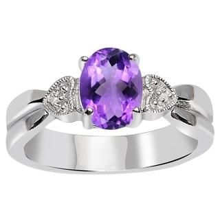 Orchid Jewelry 925 Sterling Silver 1 1/8 Carat Amethyst and Diamond Accent Engagement Ring