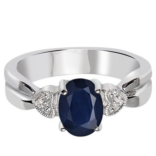 Orchid Jewelry 925 Sterling Silver 1 1/2 Carat Sapphire and Diamond Accent Engagement Ring