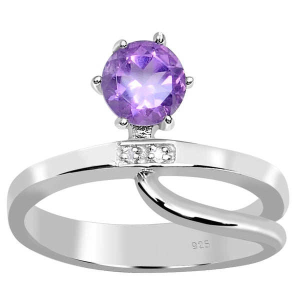 3a5c5247ad96a Shop 0.83 Carat Amethyst & Diamond Accent Sterling Silver Engagement ...